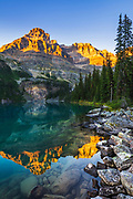 Evening light on Mount Huber above Lake O'hara, Yoho National Park, British Columbia, Canada