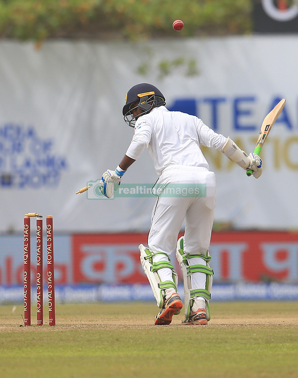 July 29, 2017 - Galle, Sri Lanka - Sri Lankan cricketer Upul Tharanga is bowled out during the 4th Day's play in the 1st Test match between Sri Lanka and India at the Galle cricket stadium, Galle, Sri Lanka on Saturday 29 July 2017. (Credit Image: © Tharaka Basnayaka/NurPhoto via ZUMA Press)
