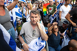 © Licensed to London News Pictures. 10/06/2018. London, UK. Prominent lawyer MARK LEWIS amongst Jewish and pro-Israeli protesters blocking the route of the annual Al Quds day march in support of the Palestinian cause, in central London. Photo credit: Joel Goodman/LNP