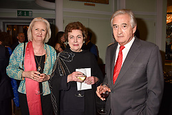 Left to right, Artemis Cooper, the Dowager, Duchess of Rutland and Antony Beevor at a party to celebrate the publication of Resolution by The Duke of Rutland and Emma Ellis held at Trinity House, Tower Hill, London England. 10 April 2017.