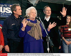 © Chuck Kennedy/KRT/ABACA. 52809-1. Milford-NH-USA, January 29 2000. Republican presidential candidate Texas Gov. George W. Bush and his father, former president George Bush, and wife Barbara, appear on stage together during a campaign event in Milford.  | 52809_01