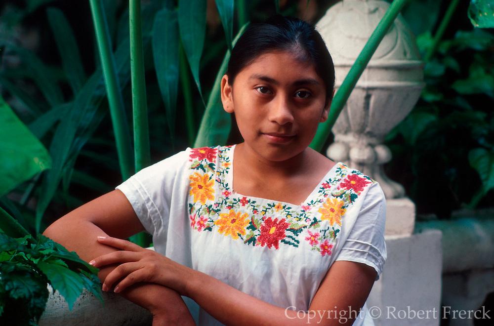 MEXICO, YUCATAN Merida; portrait of Mayan woman