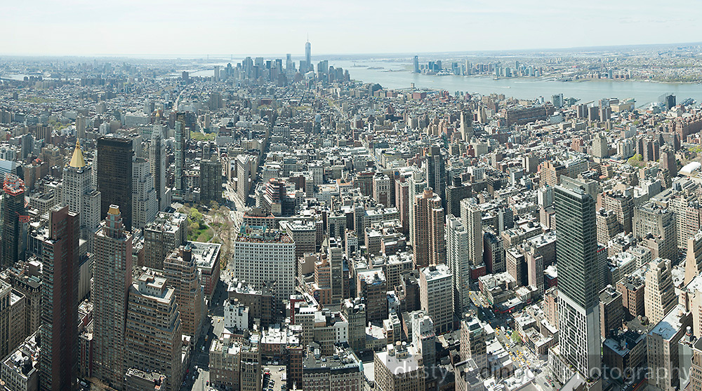 Multiple stitched-image panorama of central and lower Manhattan, New York, looking south from the Empire State Building.