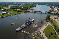 The USS Edson, a retired Navy destroyer, is a museum dedicated to documenting the history of the United States Navy located in Bay City on the Saginaw River near the Independence Bridge.