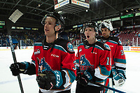 KELOWNA, BC - SEPTEMBER 28:  Sean Comrie #3 Michael Farren #16 and goalie Roman Basran #30 of the Kelowna Rockets exit the ice after the win against the Everett Silvertips  at Prospera Place on September 28, 2019 in Kelowna, Canada. (Photo by Marissa Baecker/Shoot the Breeze)