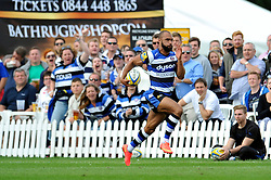 Olly Woodburn (Bath) goes on the attack - Photo mandatory by-line: Patrick Khachfe/JMP - Mobile: 07966 386802 16/08/2014 - SPORT - RUGBY UNION - Bath - Recreation Ground - Bath Rugby v Scarlets - Pre-Season Friendly