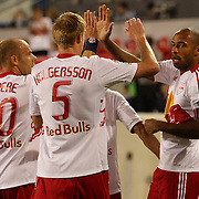 Thierry Henry, New York Red Bulls, is congratulated by Markus Holgersson after scoring from Henry's corner  during the New York Red Bulls V Toronto FC  Major League Soccer regular season match at Red Bull Arena, Harrison. New Jersey. USA. 29th September 2012. Photo Tim Clayton