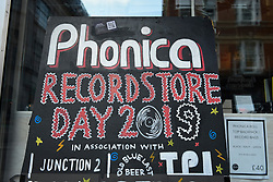 © Licensed to London News Pictures. 13/04/2019. LONDON, UK. Exterior of Phonica Records. Analogue music fans visit independent record shops in Soho to celebrate vinyl music on the 12th Record Store Day.  Over 200 independent record shops across the UK come together annually to celebrate the unique culture of analogue music with special vinyl releases made exclusively for the day.  In 2018, sales of vinyl rose for the 11th consecutive year to 4.2 million units according to the British Phonographic Industry (BPI).  Photo credit: Stephen Chung/LNP