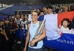 WUHAN, Sept. 30, 2017 Caroline Garcia of France poses with her supporters after winning the singles final match against Ashleigh Barty of Australia at 2017 WTA Wuhan Open in Wuhan, capital of central China's Hubei Province, on Sept. 30, 2017. Caroline Garcia won 2-1. wdz) (Credit Image: © Cheng Min/Xinhua via ZUMA Wire)