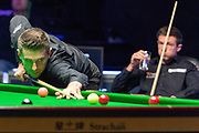 Jack Lisowski looks on as Mark Selby take his opportunity to get back on terms in the early exchanges of the World Snooker 19.com Scottish  Open Final Mark Selby vs Jack Lisowski at the Emirates Arena, Glasgow, Scotland on 15 December 2019.