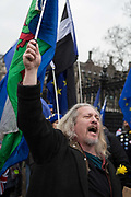 Pro-EU Remainers celebrate EU membership by singing Ode To Joy during their party like theres no tomorrow for one last time outside parliament, one day before Brexit Day the date of 31st January 2020, when the UK legally exits the European Union, in Parliament Square, Westminster, on 30th January 2020, in London, England.