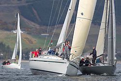 RWYC's Savills Kip Regatta  9-10th May 2015 <br /> Excellent conditions for the opening racing of the Clyde Season<br /> <br /> Class 3's start with  First by Farr coming close to 1/4 tonner, Pheonix  <br /> <br /> Credit : Marc Turner / PFM