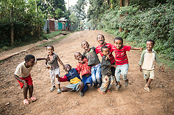 Children play near the Tepi coffee plantation in Kaffa Ethiopia.