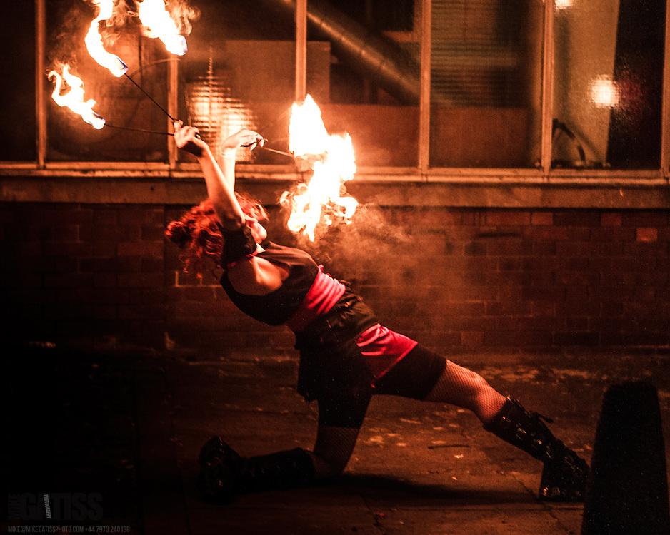 Fire Dancers  performing outside FrankFest, Jabez Clegg, Manchester, 2012-03-31