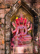 06 MARCH 2017 - KATHMANDU, NEPAL: A Hindu deity carved into a wall at a public well in Kathmandu.      PHOTO BY JACK KURTZ