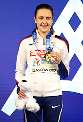 Great Britain's Laura Muir with her gold medal at the Women's 1500m Final during day three of the European Indoor Athletics Championships at the Emirates Arena, Glasgow.