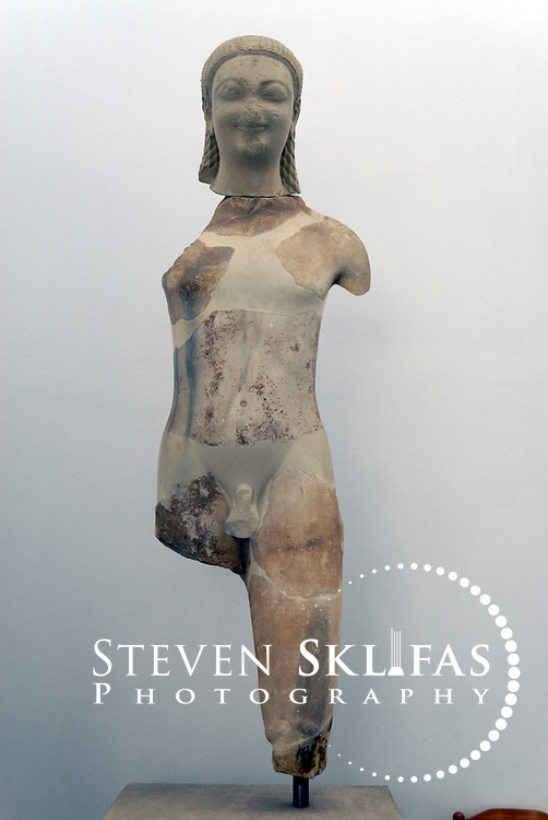 Greece. Samos. Archaic statue from the 6th century BC on display at the Archaeological Museum in Vathy or Samos town.