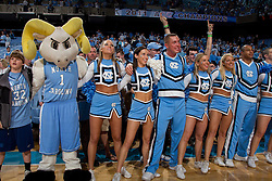 CHAPEL HILL, NC - MARCH 05: Ramses, mascot of the North Carolina Tar Heels, and cheerleaders celebrate after a victory over the Duke Blue Devils with a on March 05, 2011 at the Dean E. Smith Center in Chapel Hill, North Carolina. North Carolina won 67-81. (Photo by Peyton Williams/UNC/Getty Images)
