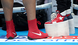 Joe Joyce and his trainers footwear during the workout at Spitalfields Market, London.