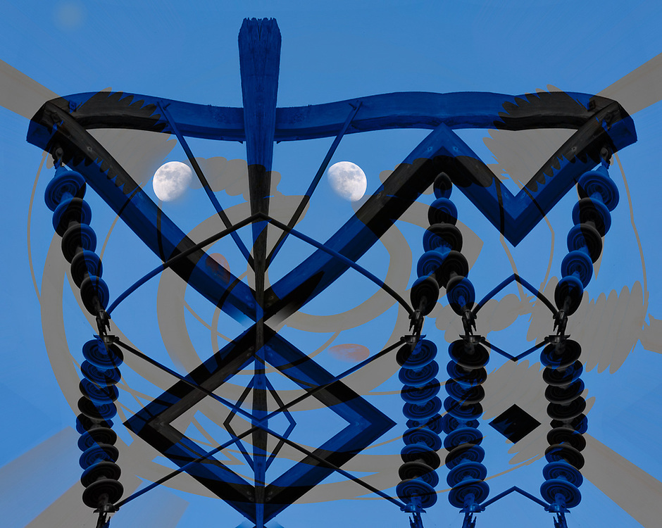 """""""Homeland Security Lunar Patrol Mask"""", derivative image from a photo of a power pole and lines with the moon, Port Angeles, Washington, USA"""