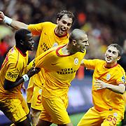 Galatasaray's Milan BAROS (C) celebrate his goal during their Turkish Super League soccer match Galatasaray between Bursaspor at the TT Arena at Seyrantepe in Istanbul Turkey on Sunday 16 October 2011. Photo by TURKPIX