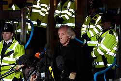 ©London News Picures..Journalist John Pilger  leaves the City of Westminster Magistrates Court on December 14, 2010 where Julian Assanged attended an extradition hearing. Photo credit should read Fuat Akyuz/London News Pictures.