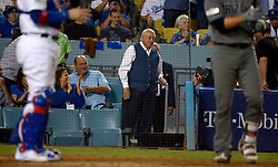 October 6, 2017 - Los Angeles, California, U.S. - Former Los Angeles Dodgers manager and hall of fame Tommy Lasorda during a National League Divisional Series baseball game against the Arizona Diamondbacks at Dodger Stadium on Friday, Oct. 06, 2017 in Los Angeles. Los Angeles Dodgers won 9-5. (Photo by Keith Birmingham, Pasadena Star-News/SCNG) (Credit Image: © San Gabriel Valley Tribune via ZUMA Wire)