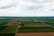 Nederland, Flevoland, Dodaarsweg, 22-05-2011; verkaveling in de polder, Oostvaardersplassen aan de horizon.Land division in the polder, new nature area Oostvaardersplassen at the horizon..luchtfoto (toeslag), aerial photo (additional fee required).foto/photo Siebe Swart
