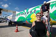 Phuket Airport. Nicole Schmidt after a flight from Koh Samui aboard a Bangkok Airways ATR 72 Turboprop.