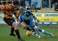 Photo: Ian Hebden.<br />Boston United v Wycombe Wanderers. Coca Cola League 2. 18/02/2006.<br />Wycombe's Jermaine Easter (R) drives past Boston's Austin McCann (L).
