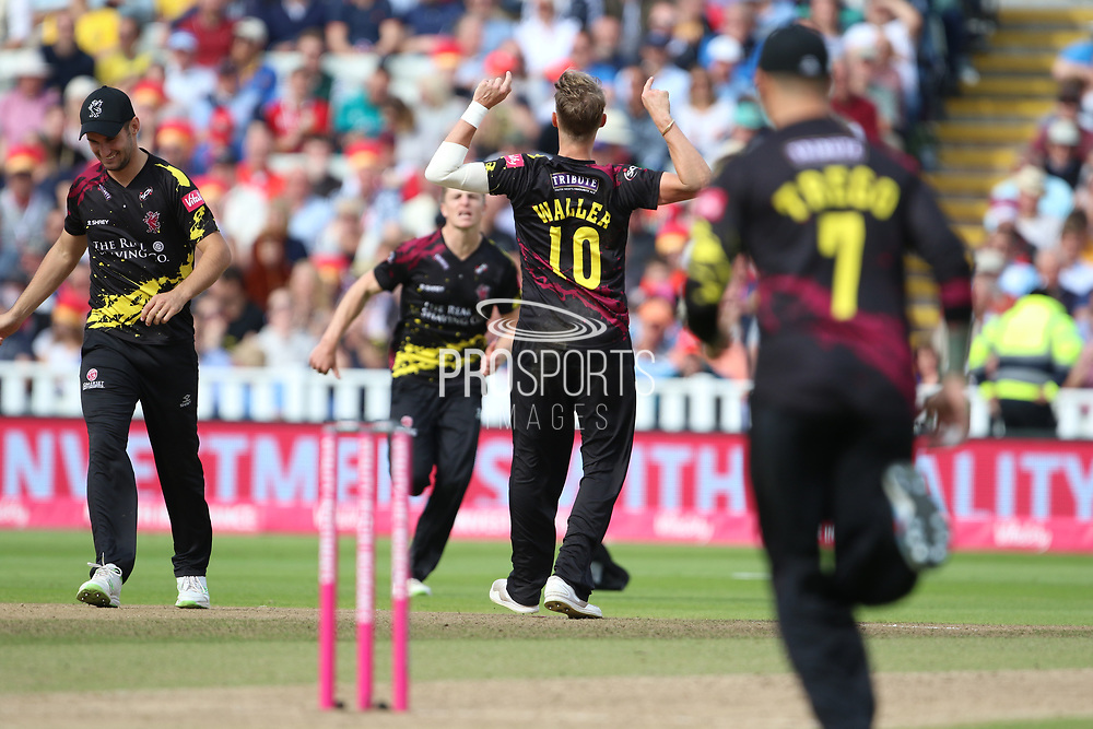 Somersets Max Waller during the Vitality T20 Finals Day semi final 2018 match between Sussex Sharks and Somerset at Edgbaston, Birmingham, United Kingdom on 15 September 2018.