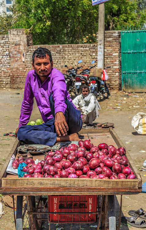 The onion seller in Agra, India.