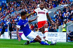 Josef Yarney of Chesterfield slides in to tackle Kyle Vassell of Rotherham United - Mandatory by-line: Ryan Crockett/JMP - 20/07/2019 - FOOTBALL - Proact Stadium - Chesterfield, England - Chesterfield v Rotherham United - Pre-season friendly