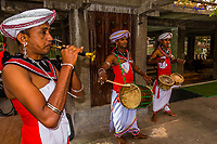 Musicians, Seema Malaka Temple, Beira Lake, Colombo, Sri Lanka.