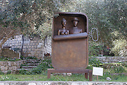 Israel, Carmel, Ein Hod Artist's village, A Couple in a Sardine Can statue by Benjamin Levy