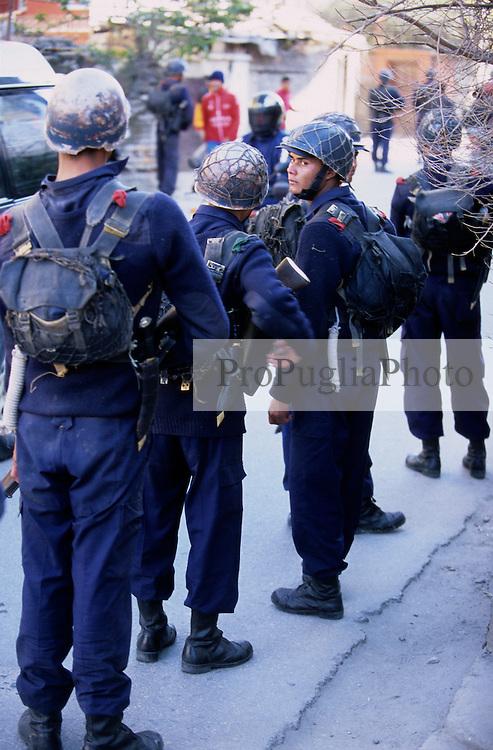 Kathmandu, 10 February 2005. Armed policem patrolling the streets