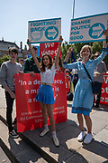 Young pro-brexit campaigners outside westminster on the 23rd Jul 2019 in London in the United Kingdom.