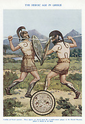 Greek warriors in hand-to-hand combat. Early 20th century illustration based on an ancient representation.