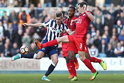 18 February 2017 - FA Cup, Fifth Round - Millwall v Leicester City<br /> Ben Chilwell of Leicester intercepts Steve Morison of Millwall<br /> Photo: Charlotte Wilson