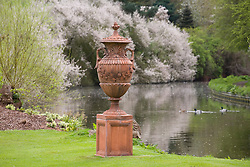 Terracotta urn by the canal