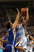 29/08/04 - ATHENS  - GREECE -  - BASKETBALL SEMIFINAL MATCH   - Indoor Olympic Stadium - <br />ARGENTINA win over ITALY and win the GOLD MEDAL<br />Here EMANUEL GINOBILI and Italy N*6 GALANDA GIacomo.<br />© Gabriel Piko / Argenpress.com / Piko-Press
