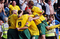 Photo: Kevin Poolman.<br />Wycombe Wanderers v Hartlepool United. Coca Cola League 2. 14/04/2007. Hartlepool players celebrate the goal which gives them promotion.