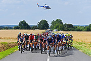 CHATEAUROUX, FRANCE - JULY 01 : Illustration of peloton during stage 6 of the 108th edition of the 2021 Tour de France cycling race, a stage of 160,6 kms between Tours and Chateauroux on July 1, 2021 in Chateauroux, France, 1/07/2021