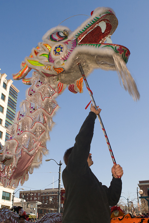 """United States, Washington, Seattle. Chinese New Year celebration in Seattle's """"International District"""", traditional home of the city's Asian community."""