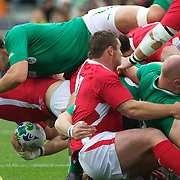 """Donncha O""""Callaghan, Ireland, makes a tackle during the Ireland V Wales Quarter Final match at the IRB Rugby World Cup tournament. Wellington Regional Stadium, Wellington, New Zealand, 8th October 2011. Photo Tim Clayton..."""