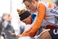 Pauline Ferrand Prevot warms up with her Rabo Liv teammates at Omloop van Borsele Time Trial 2016. A 19.9 km individual time trial starting and finishing in 's-Heerenhoek, Netherlands on 22nd April 2016.