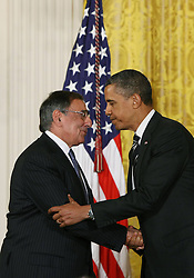 U.S. President Barack Obama (R) shakes hands with current Secretary of Defence Leon Panetta at the White House in Washington D. C., the United States, Jan. 7, 2013. U.S. President Barack Obama on Monday announced that he will nominate former Republican senator Chuck Hagel as the next defence secretary, and counterterrorism adviser John Brennan to lead the Central Intelligence Agency (CIA), January 7, 2013. Photo by Imago / i-Images...UK ONLY