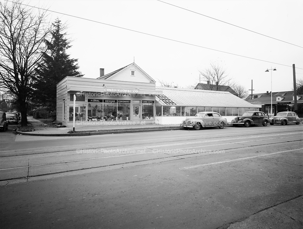 "Ackroyd 00346. ""Canby Floral Co. November 24, 1947"" 1634 NE Broadway, Portland."