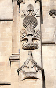 Stone carving on frontage, Abbey church, Bath, Somerset, England, UK