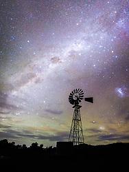 Stars over a Farm Windmill, Roma, QLD, Australia. 21/04/14 Photo by Andrew Tallon